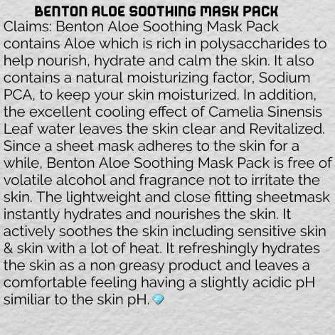aloe soothing mask pack5